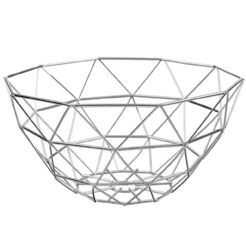 Geometric Wire Fruit Basket Chrome